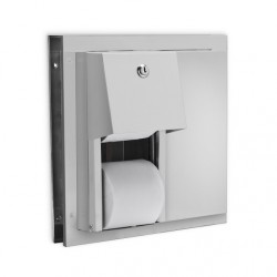 AJW Commercial Washroom Accessories U842 Partition Hooded Steel Dual Toilet Tissue Paper Dispenser