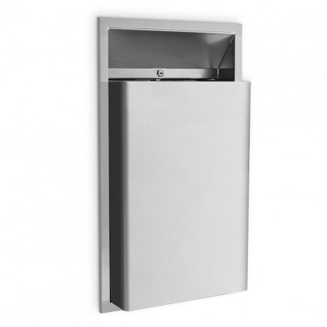 """AJW U417 7 Gallon Waste Receptacle w/-1/2"""" Extended Waste - Recessed"""