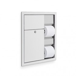 AJW U864 Dual Toilet Tissue Paper Dispenser & Sanitary Napkin Disposal - Recessed