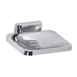 AJW Commercial Washroom Accessories UC22 Bright Chrome Surface Mounted Zamac Soap Dish w/ Drainage Holes