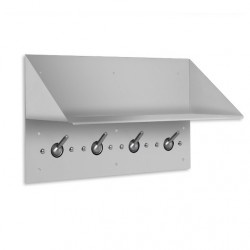 "AJW Collapsible Security Hook Strip & Shelf 18""L, 4 Hooks, Exposed Mounting - Surface Mounted"