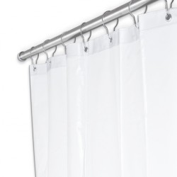 "AJW Commercial Washroom Accessories UX250 84"" Width x 72"" Height Shower Curtain - White Duck Fabric"