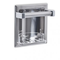 AJW Commercial Washroom Accessories UX61 Bright Chrome Recessed Soap Dish w/ Wash Cloth Bar