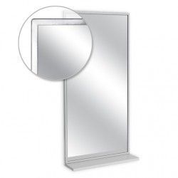 "AJW 16""W x 30""H Angle Frame Mirror w/ Mounted Shelf"