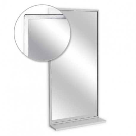 """AJW 24""""W x 30""""H Angle Frame Mirror w/ Mounted Shelf"""
