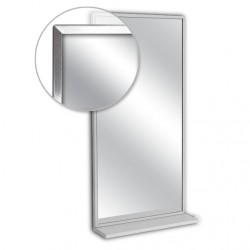 """AJW 24""""W x 30""""H Channel Frame Mirror w/ Mounted Shelf"""