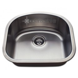 Polaris P812 Undermount Single D-Bowl Stainless Steel Kitchen Sink