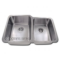 Polaris PL315 Large Left Bowl Offset Double Bowl Stainless Steel Sink