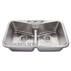 Polaris P335 Low Divide Angled Bowl Stainless Steel Kitchen Sink