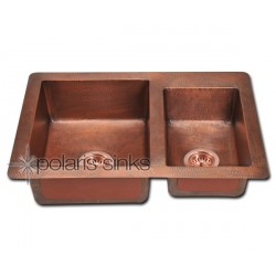 Polaris P109 Double Offset Bowl Copper Sink