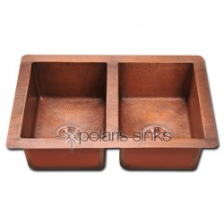 Polaris P209 Double Equal Bowl Copper Sink
