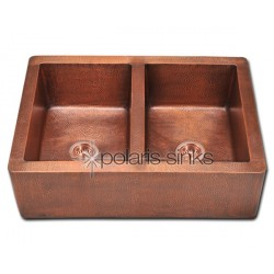 Polaris P219 Double Equal Bowl Copper Farmhouse Apron Sink
