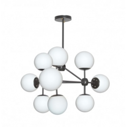 Dainolite DMI 9LT Chandelier, Black Finish w/White Glass Balls