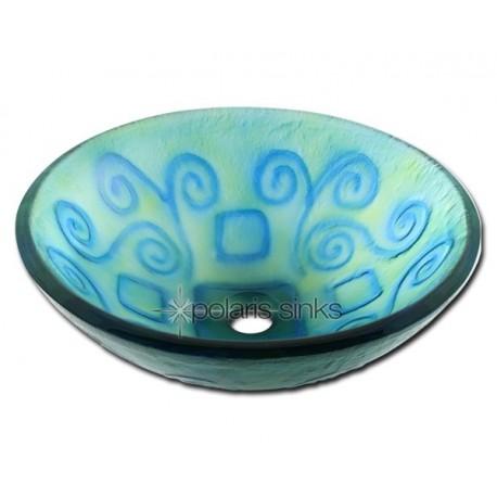 Polaris P026 Frosted Bluegreen Glass Vessel Sink
