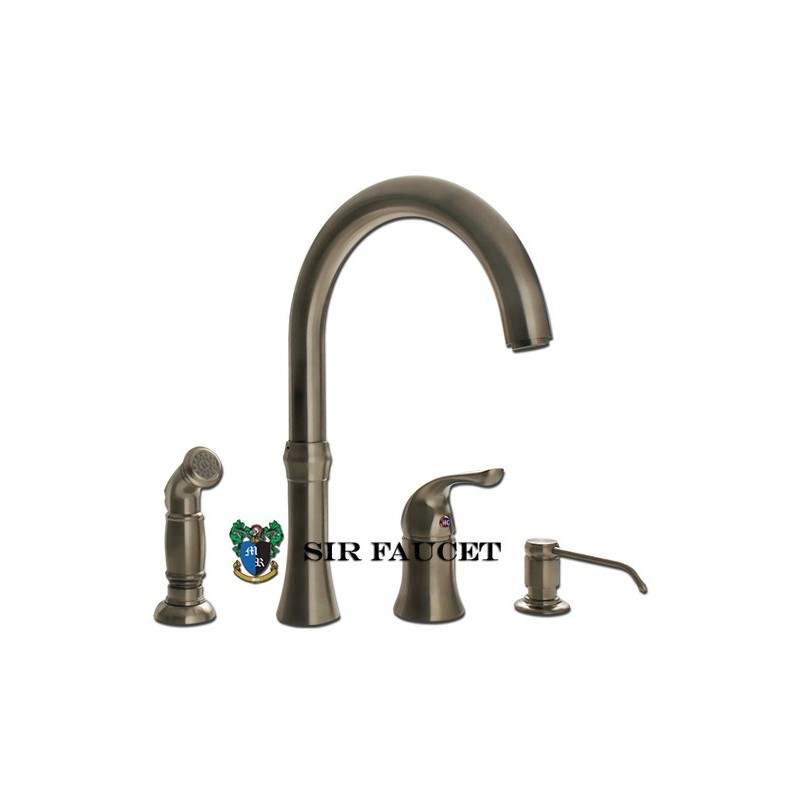 Kitchen Faucet With Sprayer And Soap Dispenser: Sir Faucet 710 Wide Spread Kitchen Faucet W/Soap Dispenser