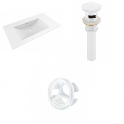 American Imaginations AI-20703 35.5-in. W 1 Hole Ceramic Top Set In White Color - Overflow Drain Incl.