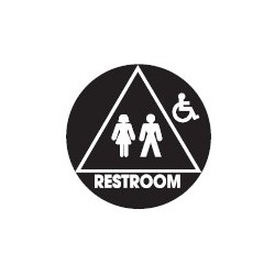 Don-Jo CHS-3-RESTROOM Round Family Restroom Handicapped Sign, Blue Finish