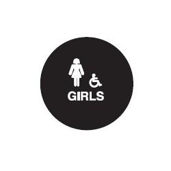 Don-Jo CHS-5-GIRLS Round Girls Restroom Sign, Blue Finish