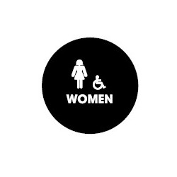 Don-Jo CHS-7-WOMEN Round Women's Room Restroom Sign for Commercial Washrooms, US CHS-7-BLACK Finish