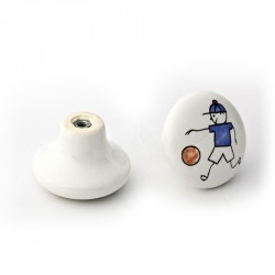 Capital Cabinet Hardware Ceramic Cabinet Knob Pull with Painted Playing Boy