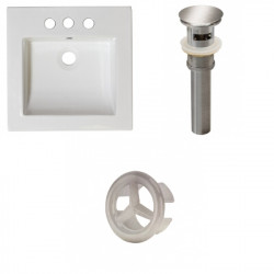 American Imaginations AI-21736 21.5-in. W 3H4-in. Ceramic Top Set In White Color - Overflow Drain Incl.