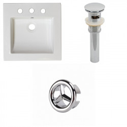 American Imaginations AI-21741 21.5-in. W 3H8-in. Ceramic Top Set In White Color - Overflow Drain Incl.