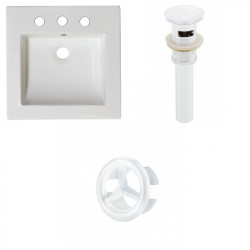 American Imaginations AI-21743 21.5-in. W 3H8-in. Ceramic Top Set In White Color - Overflow Drain Incl.