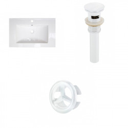 American Imaginations AI-21751 21-in. W 1 Hole Ceramic Top Set In White Color - Overflow Drain Incl.