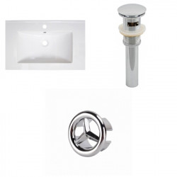 American Imaginations AI-21765 30-in. W 1 Hole Ceramic Top Set In White Color - Overflow Drain Incl.