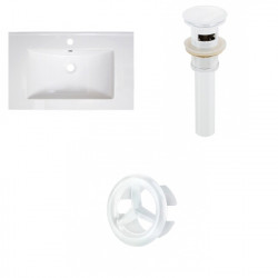 American Imaginations AI-21767 30-in. W 1 Hole Ceramic Top Set In White Color - Overflow Drain Incl.