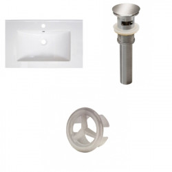American Imaginations AI-21768 30-in. W 1 Hole Ceramic Top Set In White Color - Overflow Drain Incl.