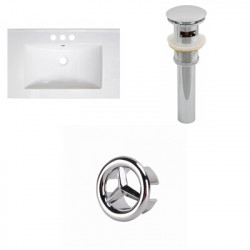 American Imaginations AI-21789 30-in. W 3H4-in. Ceramic Top Set In White Color - Overflow Drain Incl.