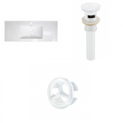 American Imaginations AI-21799 39.75-in. W 1 Hole Ceramic Top Set In White Color - Overflow Drain Incl.