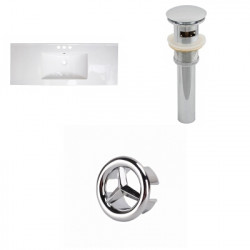 American Imaginations AI-21805 39.75-in. W 3H4-in. Ceramic Top Set In White Color - Overflow Drain Incl.