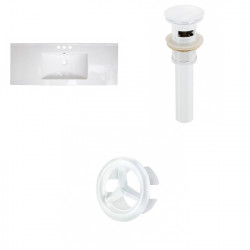 American Imaginations AI-21807 39.75-in. W 3H4-in. Ceramic Top Set In White Color - Overflow Drain Incl.
