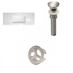 American Imaginations AI-21808 39.75-in. W 3H4-in. Ceramic Top Set In White Color - Overflow Drain Incl.