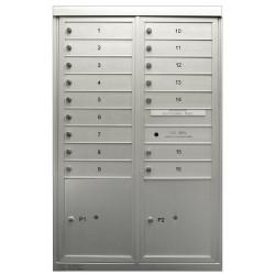 2B Global Commercial Mailbox 16 Single Height Tenant Door 2 Parcel Locker Door -COMFORT Series D16P2