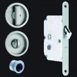 Omnia 3910 Pocket Door Mortise Lock - Round Trim (US32D)
