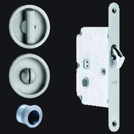 Omnia 3910 Pocket Door Mortise Lock - Round Trim