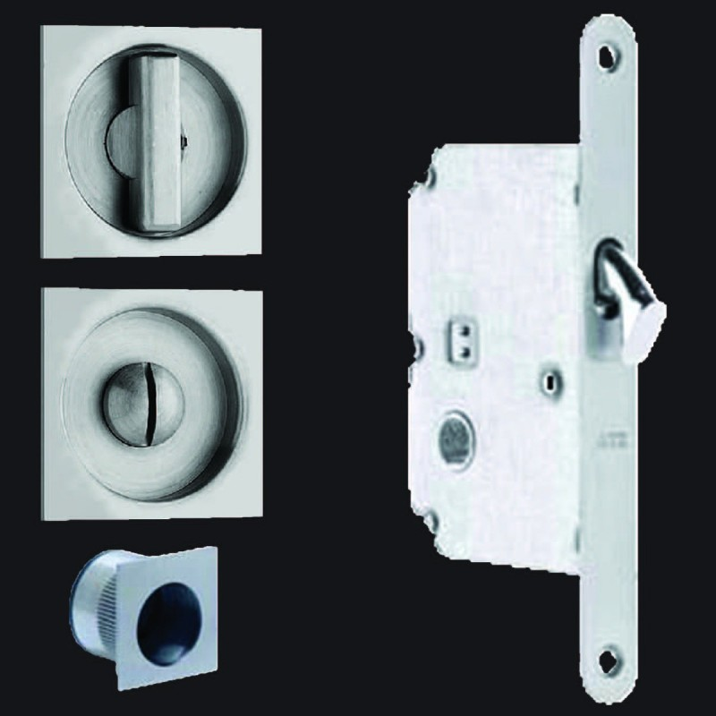 Omnia 3911 Pocket Door Mortise Lock Square Trim Us32d