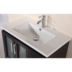 "Design Element 32"" Porcelain Countertop with Integrated Drop In Sink"