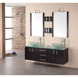 "Design Element Portland 61"" Double Sink - Wall Mount Vanity Set"