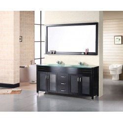 "Design Element Waterfall 60"" Double Sink Vanity Set"
