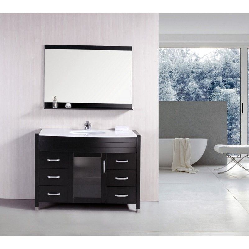 Espresso Finish Single Sink Vanity Set White Stone Top