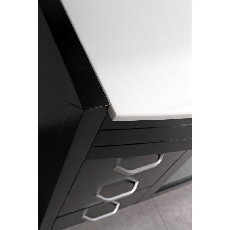 Espresso finish single sink vanity set white stone top for Waterfall set design