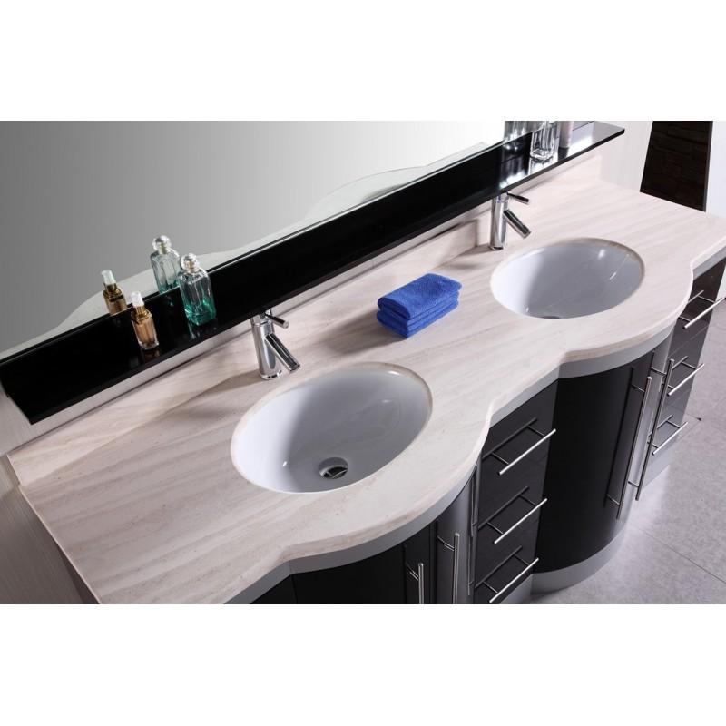 72 Double Sink Vanity Set W Travertine Stone Countertop
