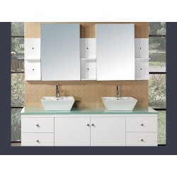 "Design Element Portland 72"" Double Sink - Wall Mount Vanity Set"