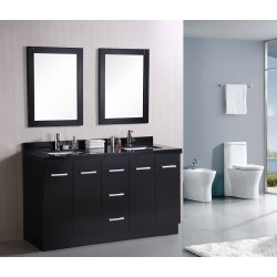 "Design Element Cosmo 60"" Double Sink Vanity Set"