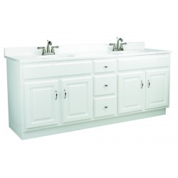 Design House 541086 Concord 72X21 4 Door & 3 Drawer White Vanity Cabinets