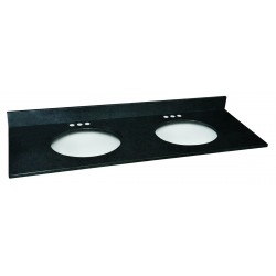 Design House 553289 Black Pearl Granite 61x22 Double Bowl Vanity Tops